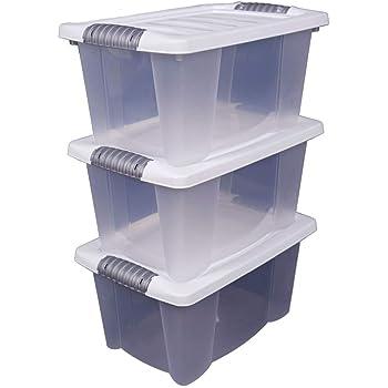 3x Stapelbox mit Deckel 14 Liter - transparent mit weißem