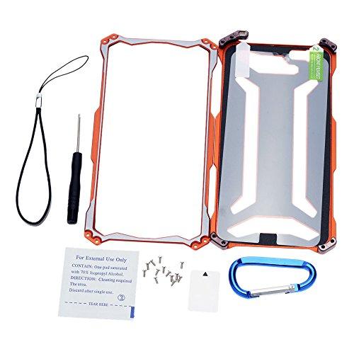 R-JUST Kohlefaser Aluminium Hülle Tasche Schutzhülle Case Cover für Apple iPhone 6 Plus für Outdooraktivitäten Orange