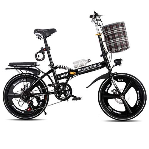 Vélos pliants Vélo Pliant Freins À Disque De 20 Pouces D'absorption des Chocs Unisexe Ultra-léger Portable Pliant Vélo (Color : Black, Size : 150 * 35 * 110cm)