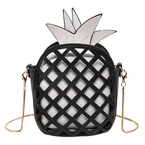 AiSi 3D Mädchen Leder klein Clutch Umhängetaschen Handtasche Party-bags Abendtasche mit Reißverschluss und Zusatzkette, Ananas gelb Schwarz