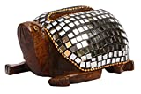 SouvNear Handmade Tortoise Business Card Holder - Hand-Carved Eucalyptus Wood Holder with Mirror Mosaic Art - Figurines/Sculptures / Statues - Desk Accessories