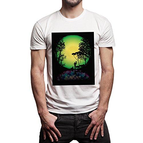 YOLO Holly Damn Nice Green Yellow Sun Background Herren T-Shirt Weiß
