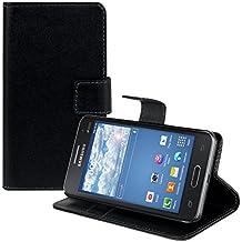 kwmobile Funda para Samsung Galaxy Core II Duos - Wallet Case plegable de cuero sintético - Cover con tapa tarjetero y soporte en negro
