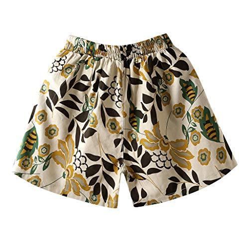 WOZOW Shorts Kurze Hose Damen Bettwäsche Baumwolle Casual Lose Boho Leaves Muster Print Bedrucktes Druck Mini Strand Beach Freizeithose Stoffhose A Line Pyjama Trousers (4XL,Beige)
