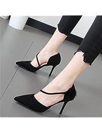 Xue Qiqi Banquete negro de alto-Heel Shoes moda calzado mujer punta fina con la luz de un solo zapato,37, negro