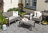 Allibert by Keter Delano Outdoor 4 Seater Lounge Garden Furniture set - Cappuccino with Sand Cushions