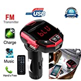 JIANGfu Wireless Bluetooth LCD FM Transmitter Modulator USB Car Kit MP3 Player SD Remote (Red, A)