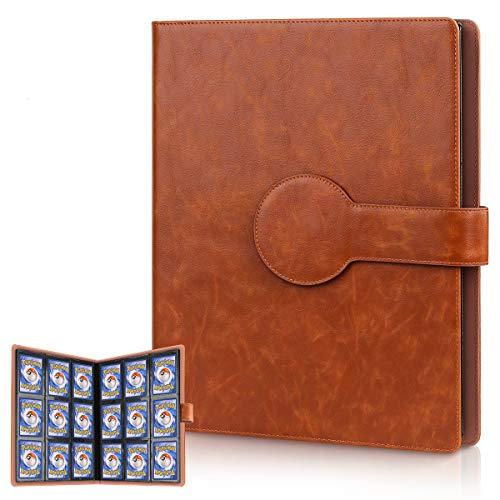 Cpano Card Holder Book-Tragetasche für Pokemon-Sammelkarten / Yugioh-Karten für bis zu 396 Karten.Halter Album Binder Kompatibel mit 22 Premium-18-Pocket-Seiten (Brown, 396 Tasche)
