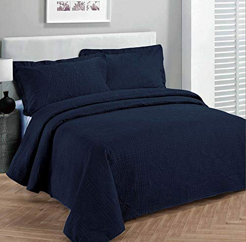 Linen Plus Bettwäsche-Set für King-Size-Betten/California King Size, 3-teilig, einfarbig, Marineblau - California King-size-bett Bettdecken