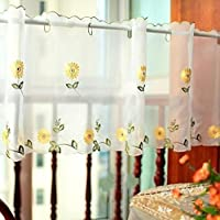 Cortina de cocina bordada, cortina de café, Cortina de comedor, Valetas semielaboradas (90x145cm, margarita)