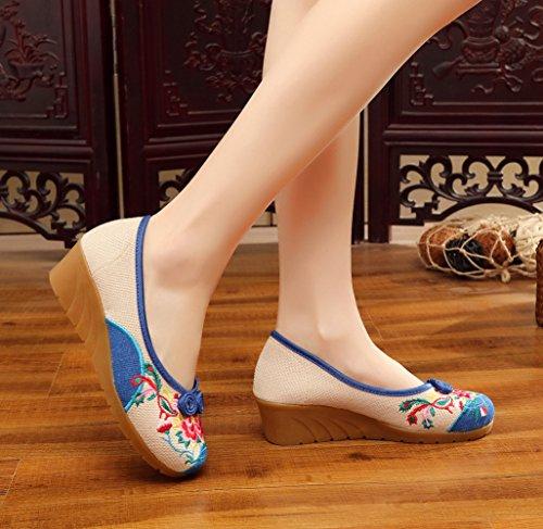 Icegrey Damen Ballerinas Handgemachte Gestickten Blumen Flache Schuhe Blau