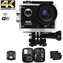 Action Camera Ultra HD 4k , schermo LCD da 2 pollici, Videocamera WIFI ,Telecamera subacquea fino a 30 metri, Macchina fotografica sportiva 12MP grandangolare 170 °, Telecomando 2.4G, EIS,Batterie ricaricabili 2Pcs e kit di installazione