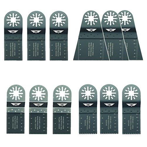 12 x TopsTools UNKA12 Mix Klingen für Bosch Fein (Nicht-StarLock) Makita Milwaukee Einhell Hitachi Parkside Ryobi Worx Workzone Multi Tool Multifunktionswerkzeug Oszillierwerkzeug Zubehör Hitachi Multi-system