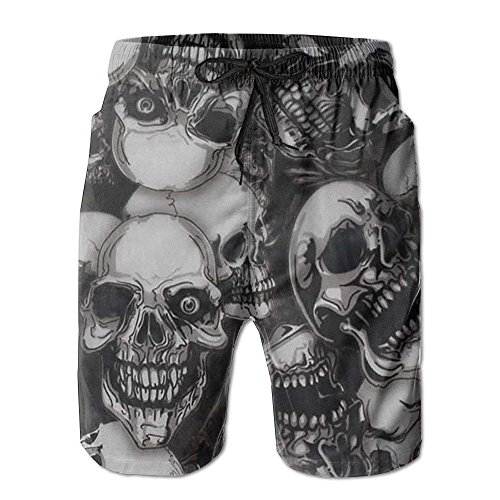 khgkhgfkgfk Quick Dry Beach Shorts Creeper-Skulls Surfing Trunks Surf Board Pants with Pockets for Men Large