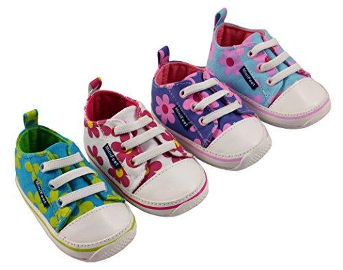 MiniFeet Toile bébé Chaussures , Marguerites, 0-6, 6-12, 12-18 et 18-24 mois Marguerites Rose Blanches