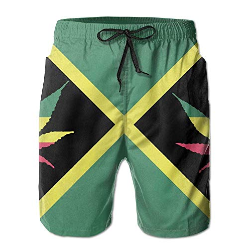 Azfaiop Flag of Jamaica Weed Plant Men Beach Shorts Swimming Trunks Quick-Dry Board Short with Lining L