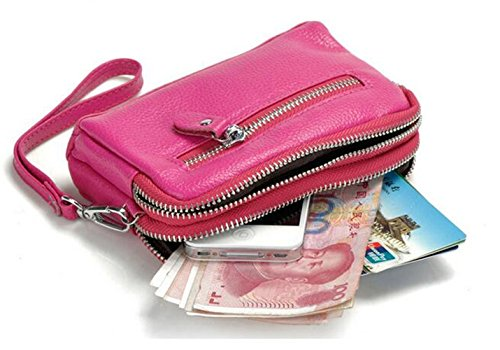Portafogli in Pelle Ladies MeiliYH Doppia Cerniera Sacco Tasca Grande Telefono Cellulare Multifunzione marrone_scuro