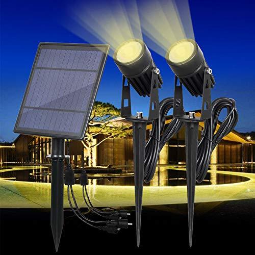 LEMAIC Solar Spot Licht Garten Outdoor IP65 Wasserdicht Auto ON/OFF Superhelligkeit Rasen LED Lampe Landschaft Scheinwerfer (warm) - Outdoor-spot-licht-solar