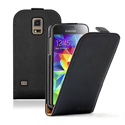 Membrane - Ultra Slim Schwarz Klapptasche Hülle Samsung Galaxy S5 Mini (SM-G800F, SM-G800H) - Flip Case Cover Schutzhülle