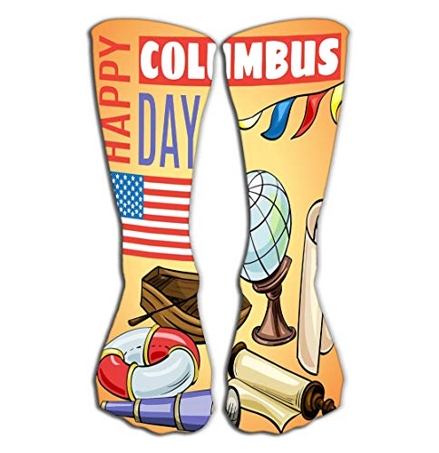 Outdoor Sports Men Women High Socks Stocking Happy Columbus Day Concept Banner Cartoon Style Tile Length 19.7