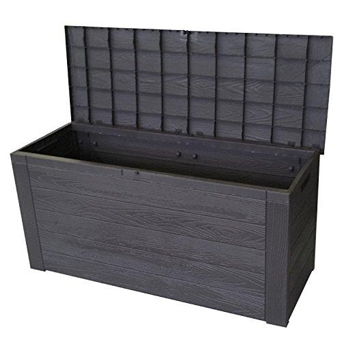 Wohaga Auflagenbox in Holzoptik Gartenbox Anthrazit 300L/120x46xH58cm Gartentruhe Kissenbox für Polsterauflagen Aufbewahrungsbox Aufbewahrungskiste Auflagentruhe