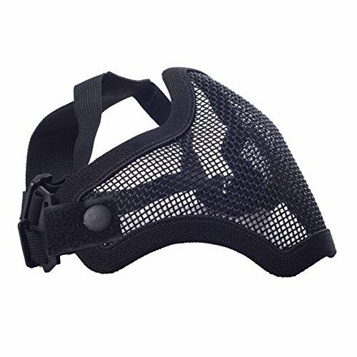 militar-tld Maschera Protettiva Per Softair, Nastro Elastico Regolabile, Griglia metallica), colore: nero, 24Ore