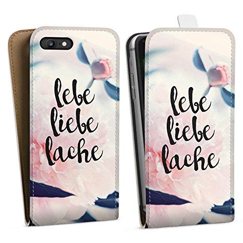 Apple iPhone X Silikon Hülle Case Schutzhülle Love Lebe Liebe Lache Blumen Downflip Tasche weiß