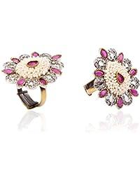 Aapno Rajasthan Pearl, CZ And Ruby Teardrop Ring