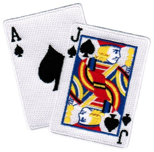 Cypress Collectibles Embroidered Patches Blackjack Iron-On Patch Embroidered Ace Jack of Spades Las Vegas Playing Cards
