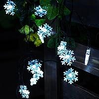 JOJOO Alimentata Solare 30 16.5ft del fiocco di neve stringa Luci Luci di Natale a LED per X-mas, giardino, patio, decorazione esterna, Bianco LT027