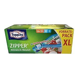 Toppits Zipper Allzweck Beutel XL Vorratspack (28x1l Flugzeugbeutel)