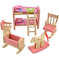 Demiawaking Wooden Doll Bathroom Furniture Dollhouse Miniature for Kids Child Play Toy