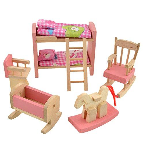 etagenbett haus Domybest Puppenhaus Holz Mädchen vorgeben Spiel Haus Möbel Familienzimmer Miniatur (Etagenbett)