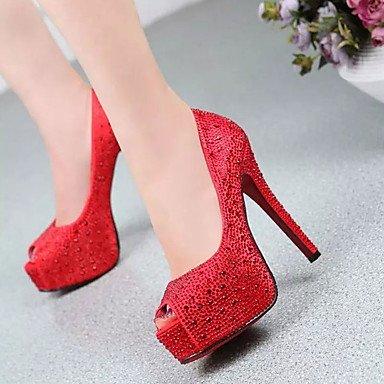 Talons pour femmes Spring Autumn Comfort PU Casual Stiletto Heel Beading Noir Rouge Marche en argent Sliver