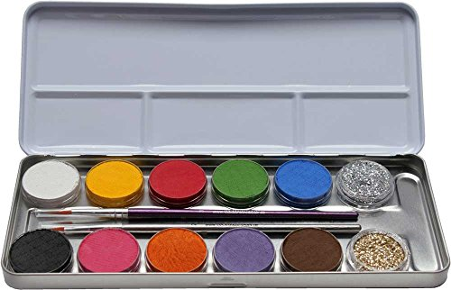 Set Für Kinder Make Up (Eulenspiegel Schminkpalette aus Metall, 2 Glitzer, 2 Pinsel, 10)