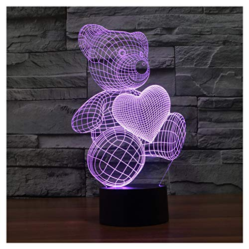 lunaoo Luz Nocturna Infantil, Lampara Escritorio Lampara 3D Oso LED, Lámpara de Mesa 7 Colores Diferentes Luz De Noche Regalos Cumpleaños Niños