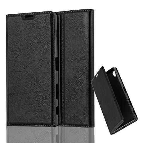 Cadorabo Hülle für Sony Xperia Z5 Premium - Hülle in Nacht SCHWARZ – Handyhülle mit Magnetverschluss, Standfunktion und Kartenfach - Case Cover Schutzhülle Etui Tasche Book Klapp Style
