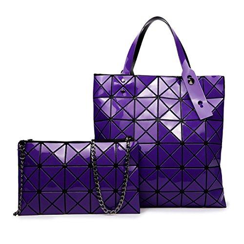 Versione Coreana Del Pacchetto Laser Semplice Semplice Geometrico Ling Griglia Pieghevole Due Pezzi Purple