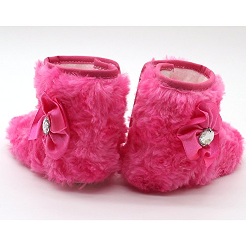 Zhuhaitf Ausgezeichnet Cute Toddler Soft Sole Cotton Snow Boots Winter Warm Baby Shoes Rose Red