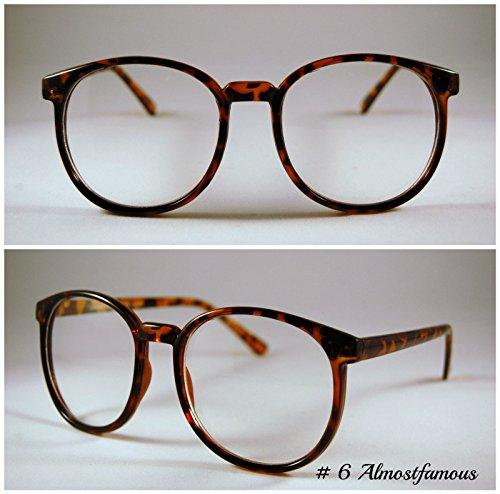 Büro Geek Hipster Schildkröte Retro Geek Vintage Wayfarer Nerd Rahmen Fashion Schwarz Rund Klar Gläsern