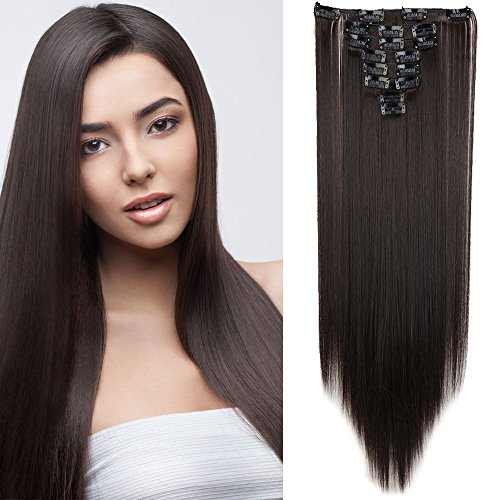 Clip in Extensions wie Echthaar Dunkelbraun Haarteile Clips Haarverlängerung 8 Tresssen günstig Haar Extensions Glatt 26