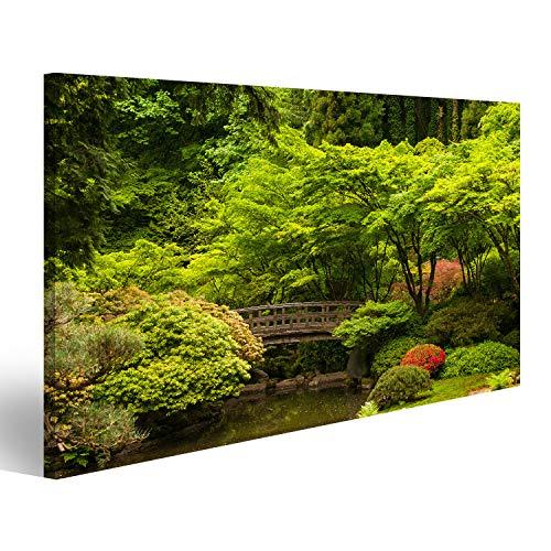 Garten-teich-canvas Art (bilderfelix® Bild auf Leinwand Holzbrücke über einen Teich in einem japanischen Garten Wandbild Leinwandbild Kunstdruck Poster 80x40cm)