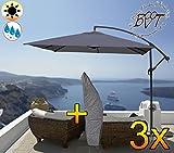 Lot de 3XXL Parasol déporté 2,50m x 2,50m, 8pièces, 8baleines, Carré 2,50x 2,50m, anthracite/gris, env. 200g/m² polyester solide, parasol avec étui Écran UV50+ complet avec croix, pied support + env. 50MM mât, gris, überdach, parasol plage, stable, pliant parasol–gris foncé, gris foncé clair Plage Parasol, roues de toit pluie Auvent de soleil parapluie pliant avec housse en tissu souple-extrêmement résistant aux intempéries, portable, plage parasol, qualité ROBUSTE stable