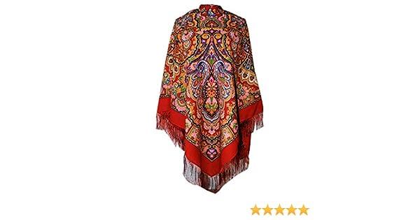 con frange di seta stola Paisley Folk 100/% lana 146cm x 146cm Bella e autentica russo Pavlovo Posad donna sciarpa scialle