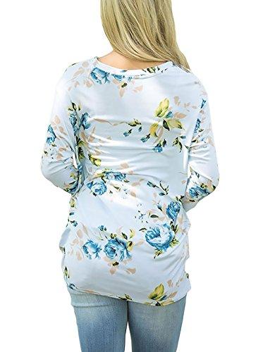 Camicia Donna Elegante Maglie A Manica Lunga Rotondo Collo Blusa Stampato Floreale Rotondo Collo Lunghi Camicie T Shirt Tumblr Allentato Plissettati Buona Qualitá Casuale Moda Camicetta Tunica Azzurro