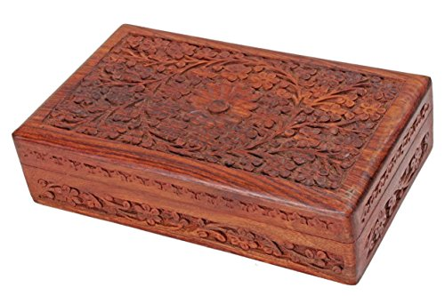 antique-finished-wooden-jewellery-box-organiser-multipurpose-handcrafted-with-floral-carvings
