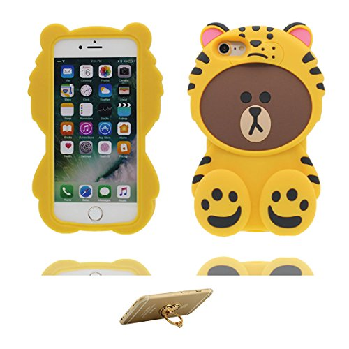 "iPhone 6s Plus Coque Case, TPU Material Flexible iPhone 6S Plus Étui, iPhone 6 Plus Cover 5.5"" [Choc à l'épreuve] [ Pretty Soft Plastique ] ring Support - Cartoon tigre ours 3D blanc jaune 1"