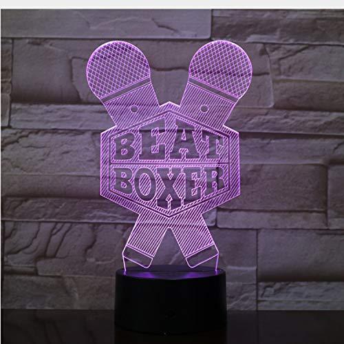 Lampe Optische Täuschung Nachtlicht Boxen Beat Boxer Mikrofon 7 Farbwechsel Touch Schalter Usb Power Für Bed Room Bar 3D (Beat Box Remote)