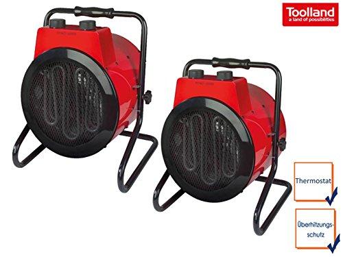 Leistungsstarkes 2er Set Bauheizer Heizstrahler mit je 3 Heizstufen, Thermostat, Kippsicherung, IPX4, 3000W, 230V