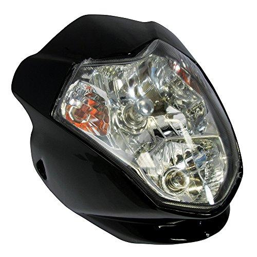 Bike It Aura - Motorrad Scheinwerfer mit Blinker - Schwarz